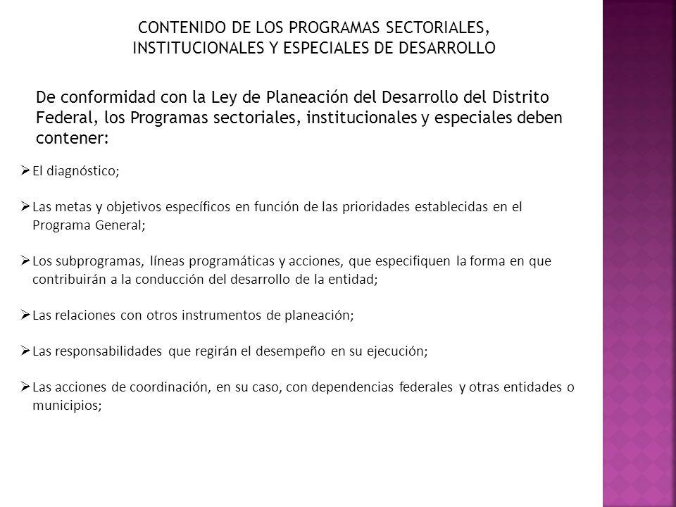 CONTENIDO DE LOS PROGRAMAS SECTORIALES, INSTITUCIONALES Y ESPECIALES DE DESARROLLO De conformidad con la Ley de Planeación del Desarrollo del Distrito