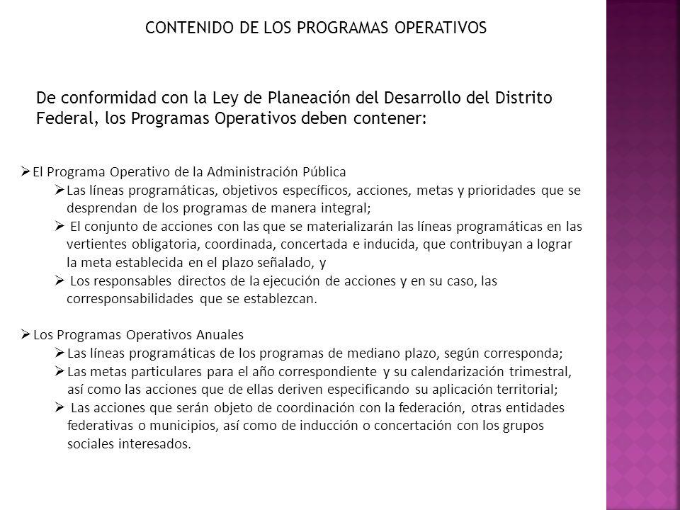 CONTENIDO DE LOS PROGRAMAS OPERATIVOS De conformidad con la Ley de Planeación del Desarrollo del Distrito Federal, los Programas Operativos deben cont