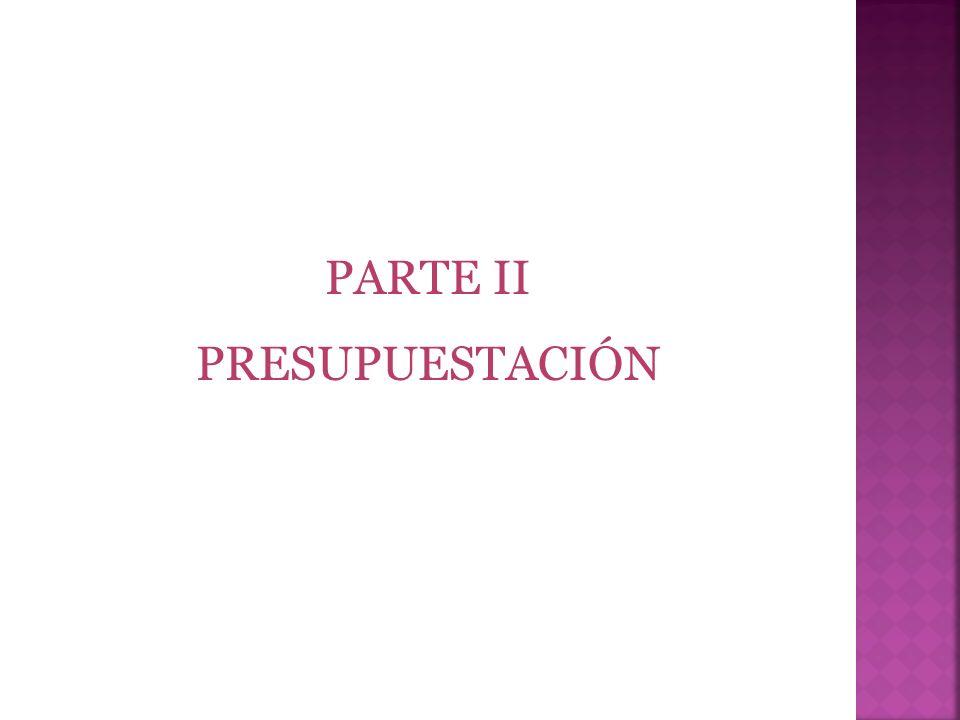 PARTE II PRESUPUESTACIÓN