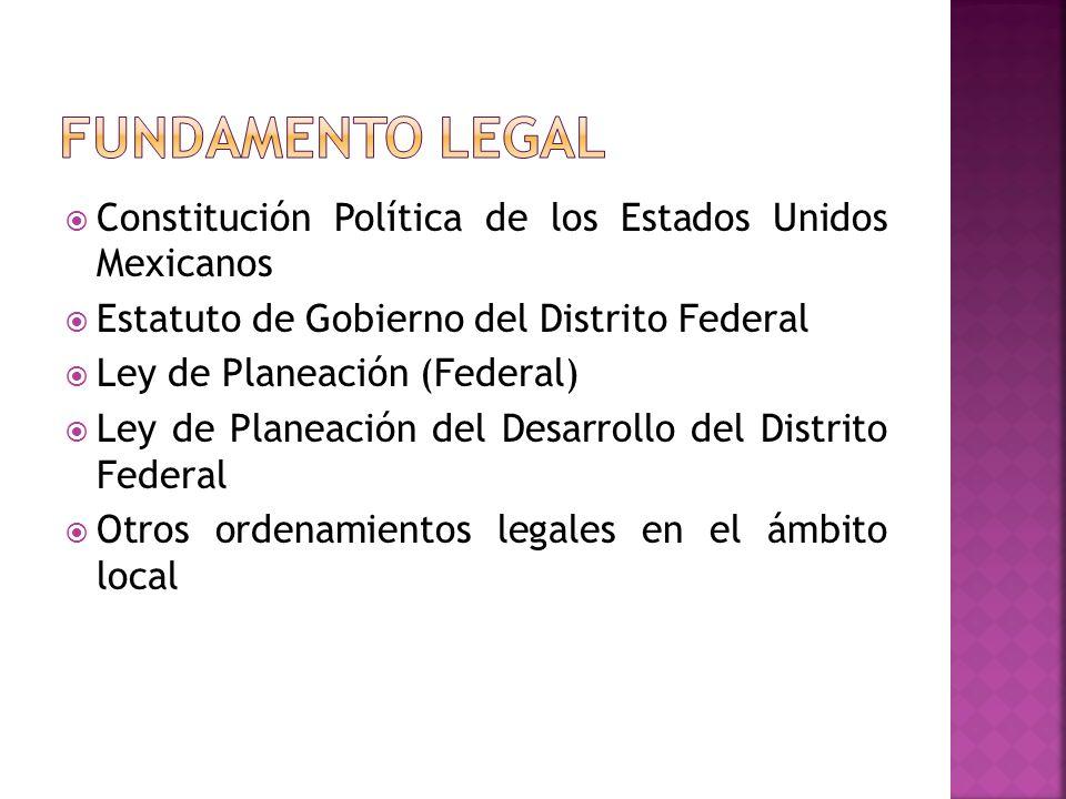 Constitución Política de los Estados Unidos Mexicanos Estatuto de Gobierno del Distrito Federal Ley de Planeación (Federal) Ley de Planeación del Desarrollo del Distrito Federal Otros ordenamientos legales en el ámbito local