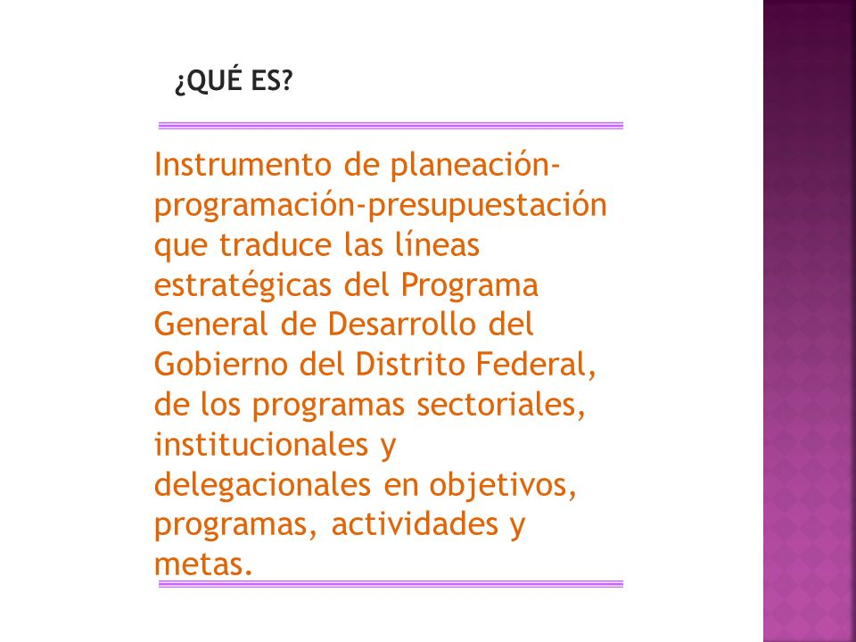 ¿QUÉ ES? Instrumento de planeación- programación-presupuestación que traduce las líneas estratégicas del Programa General de Desarrollo del Gobierno d