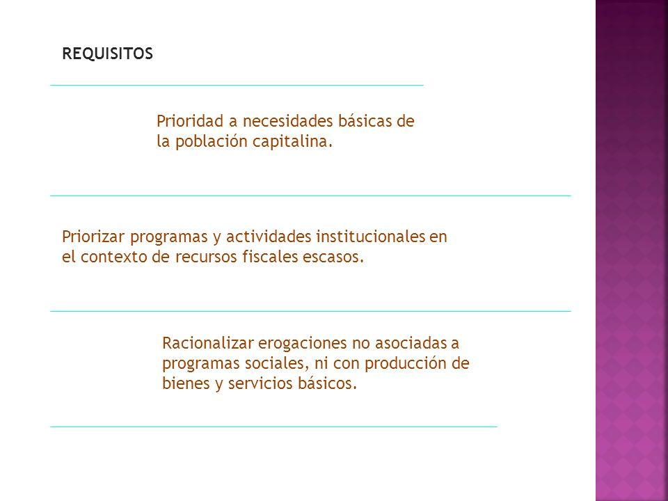 REQUISITOS Prioridad a necesidades básicas de la población capitalina. Priorizar programas y actividades institucionales en el contexto de recursos fi