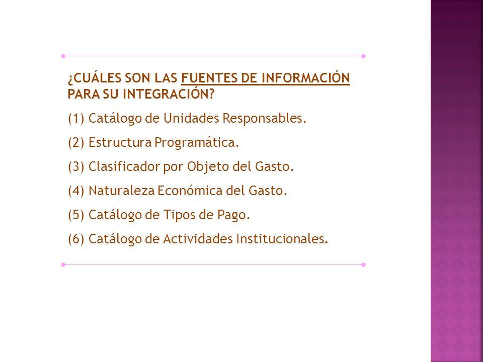 ¿CUÁLES SON LAS FUENTES DE INFORMACIÓN PARA SU INTEGRACIÓN? (1) Catálogo de Unidades Responsables. (2) Estructura Programática. (3) Clasificador por O