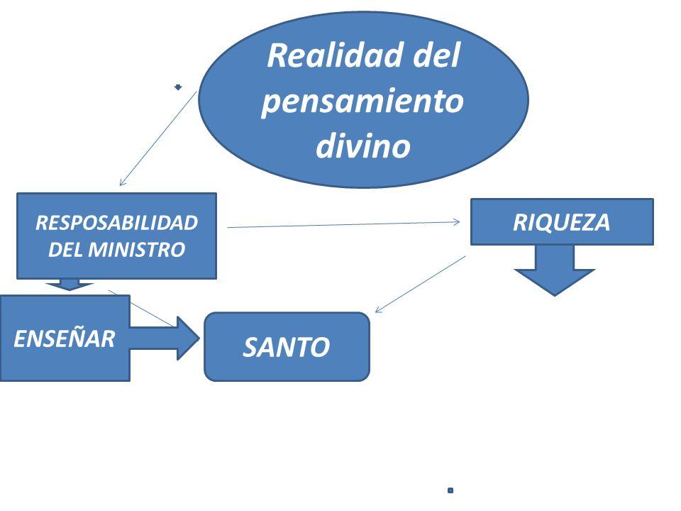 RESPOSABILIDAD DEL MINISTRO SANTO Realidad del pensamiento divino RIQUEZA ENSEÑAR