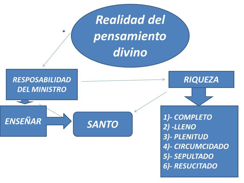 RESPOSABILIDAD DEL MINISTRO SANTO Realidad del pensamiento divino RIQUEZA 1)- COMPLETO 2) -LLENO 3)- PLENITUD 4)- CIRCUMCIDADO 5)- SEPULTADO 6)- RESUC
