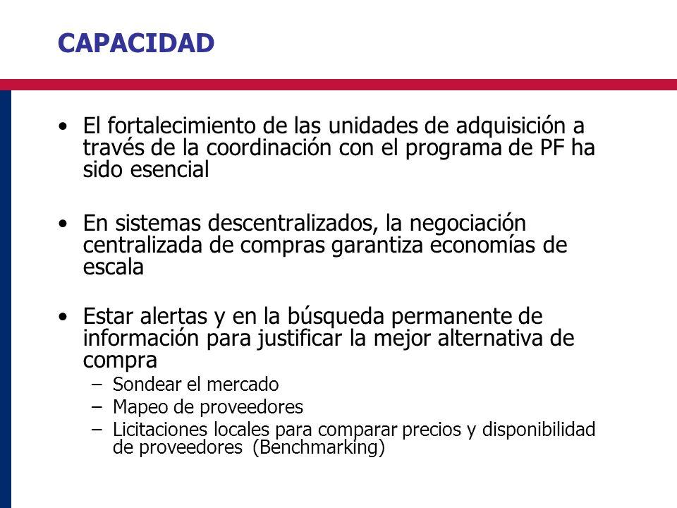 CAPACIDAD El fortalecimiento de las unidades de adquisición a través de la coordinación con el programa de PF ha sido esencial En sistemas descentrali