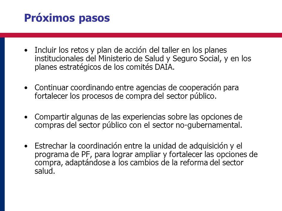 Próximos pasos Incluir los retos y plan de acción del taller en los planes institucionales del Ministerio de Salud y Seguro Social, y en los planes estratégicos de los comités DAIA.