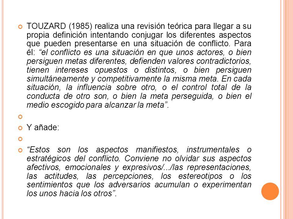 TOUZARD (1985) realiza una revisión teórica para llegar a su propia definición intentando conjugar los diferentes aspectos que pueden presentarse en una situación de conflicto.