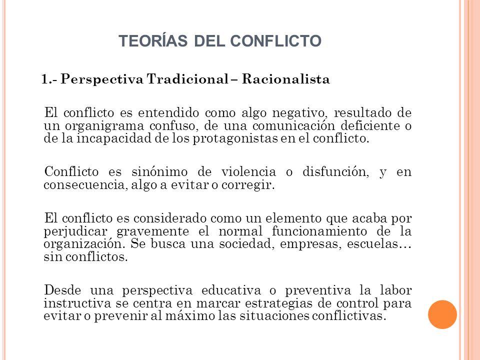 TEORÍAS DEL CONFLICTO 1.- Perspectiva Tradicional – Racionalista El conflicto es entendido como algo negativo, resultado de un organigrama confuso, de una comunicación deficiente o de la incapacidad de los protagonistas en el conflicto.