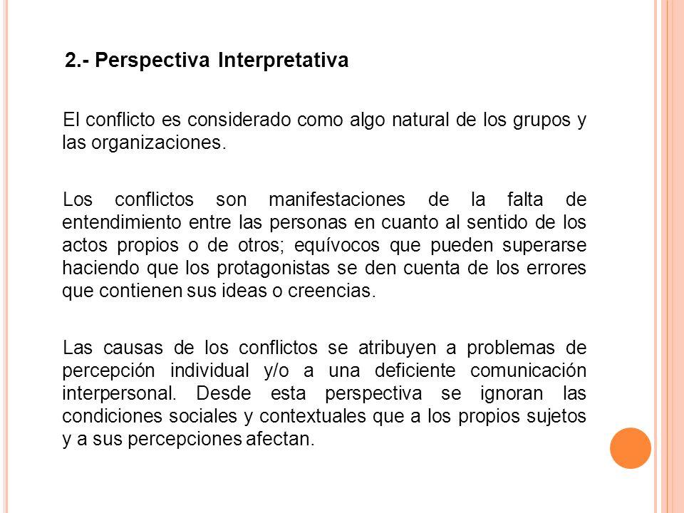 2.- Perspectiva Interpretativa El conflicto es considerado como algo natural de los grupos y las organizaciones.