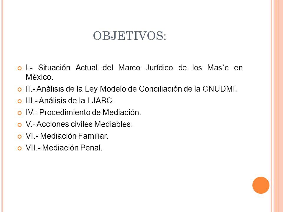 OBJETIVOS: I.- Situación Actual del Marco Jurídico de los Mas`c en México.