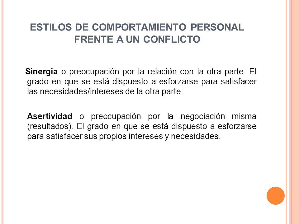 ESTILOS DE COMPORTAMIENTO PERSONAL FRENTE A UN CONFLICTO Sinergia o preocupación por la relación con la otra parte.