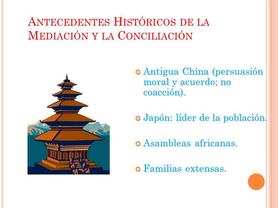 A NTECEDENTES H ISTÓRICOS DE LA M EDIACIÓN Y LA C ONCILIACIÓN Antigua China (persuasión moral y acuerdo; no coacción).