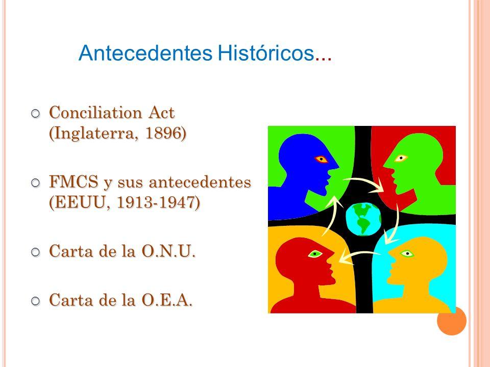 Conciliation Act (Inglaterra, 1896) Conciliation Act (Inglaterra, 1896) FMCS y sus antecedentes (EEUU, 1913-1947) FMCS y sus antecedentes (EEUU, 1913-1947) Carta de la O.N.U.