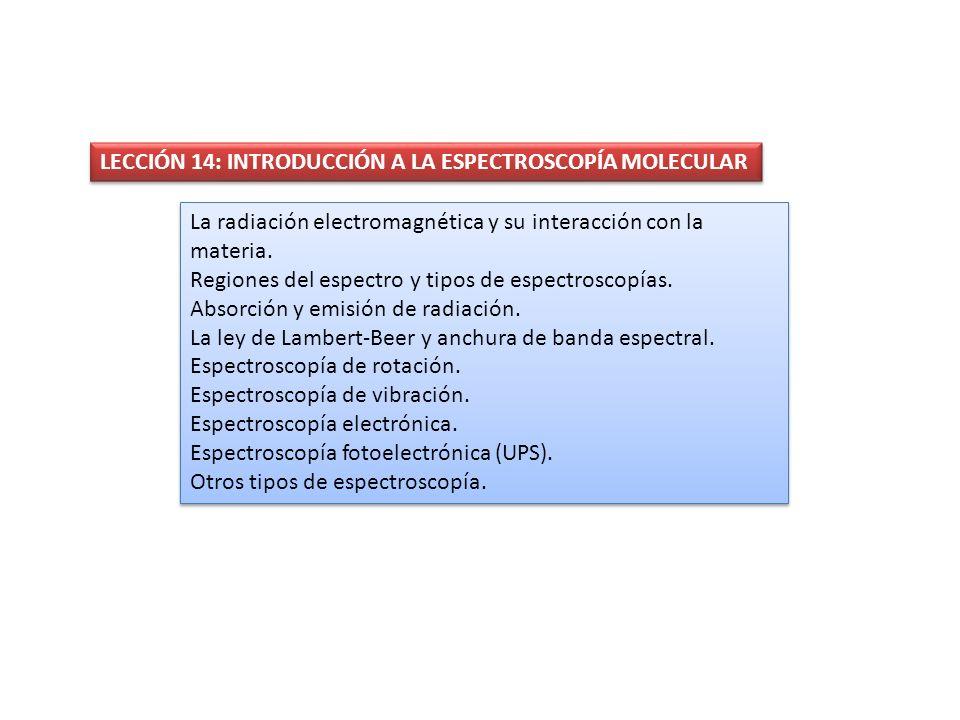 LECCIÓN 14: INTRODUCCIÓN A LA ESPECTROSCOPÍA MOLECULAR La radiación electromagnética y su interacción con la materia. Regiones del espectro y tipos de