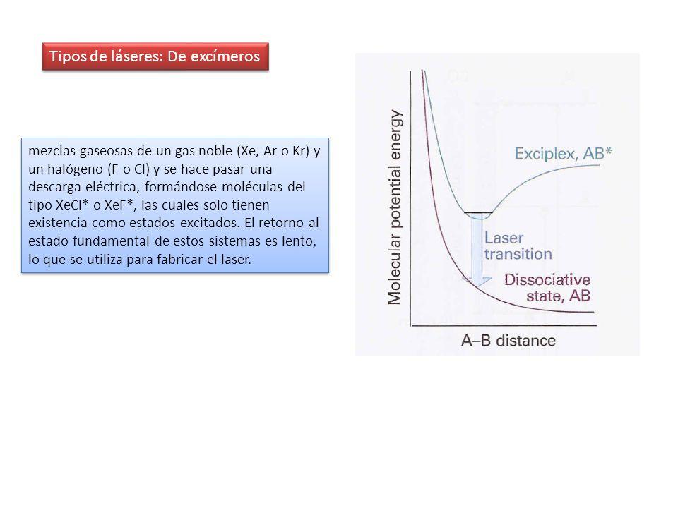 Tipos de láseres: De excímeros mezclas gaseosas de un gas noble (Xe, Ar o Kr) y un halógeno (F o Cl) y se hace pasar una descarga eléctrica, formándos