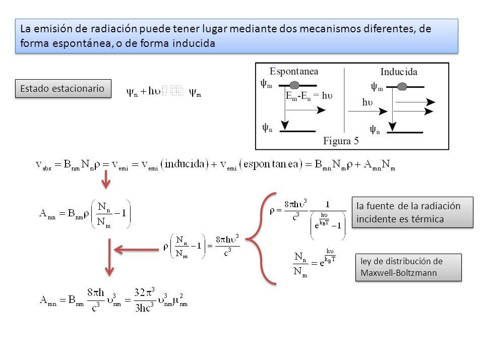 La emisión de radiación puede tener lugar mediante dos mecanismos diferentes, de forma espontánea, o de forma inducida Estado estacionario la fuente d