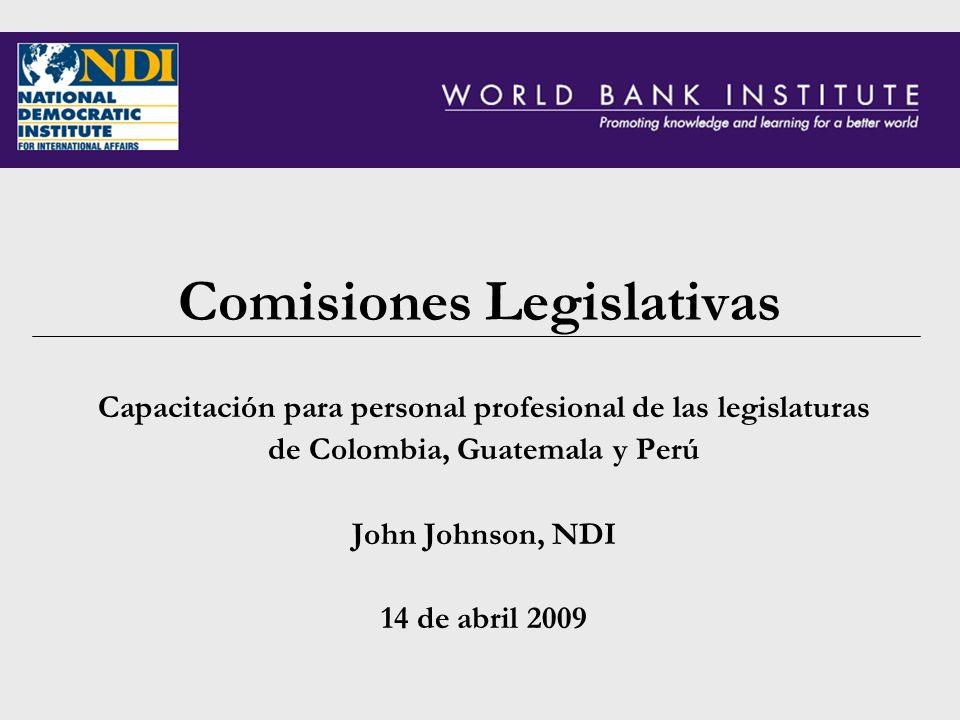 Comisiones Legislativas Capacitación para personal profesional de las legislaturas de Colombia, Guatemala y Perú John Johnson, NDI 14 de abril 2009