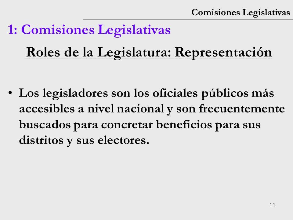 11 Comisiones Legislativas 1: Comisiones Legislativas Roles de la Legislatura: Representación Los legisladores son los oficiales públicos más accesibl