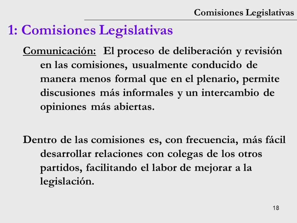 18 Comisiones Legislativas 1: Comisiones Legislativas Comunicación: El proceso de deliberación y revisión en las comisiones, usualmente conducido de m