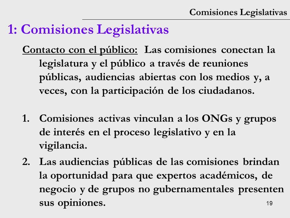 19 Comisiones Legislativas 1: Comisiones Legislativas Contacto con el público: Las comisiones conectan la legislatura y el público a través de reunion
