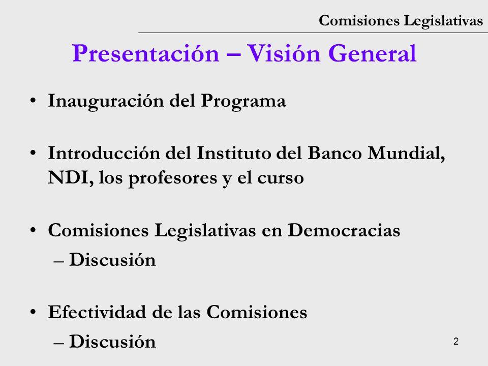 3 Comisiones Legislativas Inauguración Mitchell OBrien, World Bank Institute Representante del Congreso de Colombia Representante del Congreso de la República de Guatemala Representante del Congreso de la República del Perú John Johnson, National Democratic Institute
