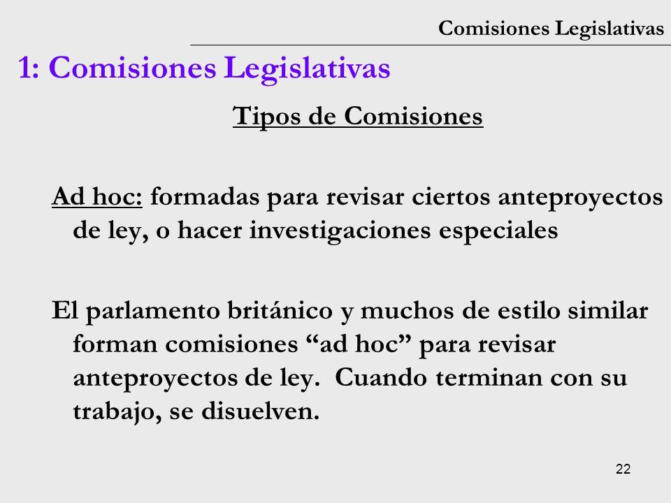 22 Comisiones Legislativas 1: Comisiones Legislativas Tipos de Comisiones Ad hoc: formadas para revisar ciertos anteproyectos de ley, o hacer investig