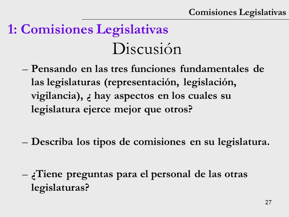 27 Comisiones Legislativas 1: Comisiones Legislativas Discusión –Pensando en las tres funciones fundamentales de las legislaturas (representación, leg