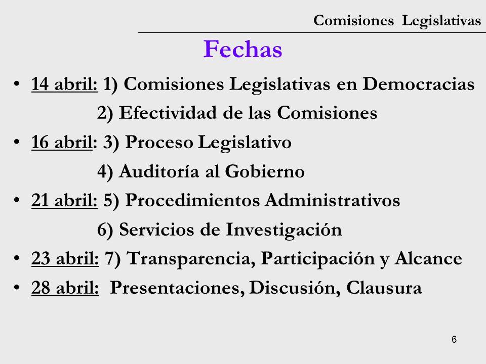 27 Comisiones Legislativas 1: Comisiones Legislativas Discusión –Pensando en las tres funciones fundamentales de las legislaturas (representación, legislación, vigilancia), ¿ hay aspectos en los cuales su legislatura ejerce mejor que otros.