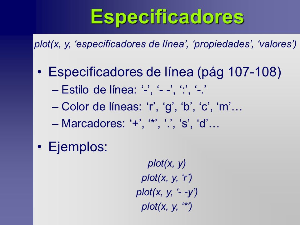Especificadores Especificadores de línea (pág 107-108) –Estilo de línea: -, - -, :, -.