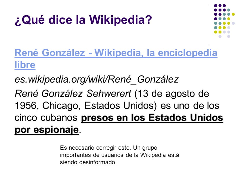¿Qué dice la Wikipedia.