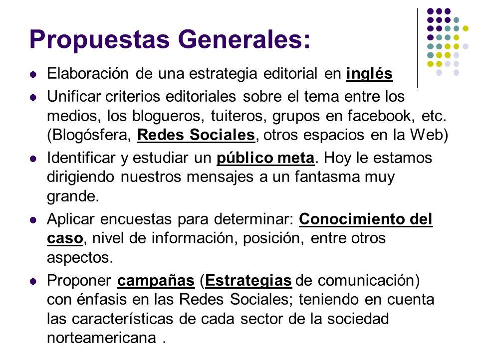 Propuestas Generales: Elaboración de una estrategia editorial en inglés Unificar criterios editoriales sobre el tema entre los medios, los blogueros, tuiteros, grupos en facebook, etc.