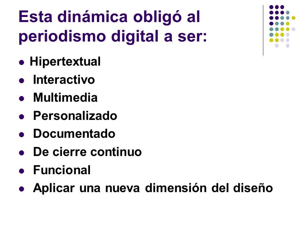 Esta dinámica obligó al periodismo digital a ser: Hipertextual Interactivo Multimedia Personalizado Documentado De cierre continuo Funcional Aplicar una nueva dimensión del diseño