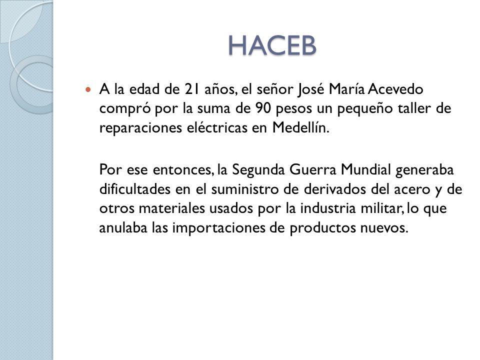 HACEB A la edad de 21 años, el señor José María Acevedo compró por la suma de 90 pesos un pequeño taller de reparaciones eléctricas en Medellín. Por e