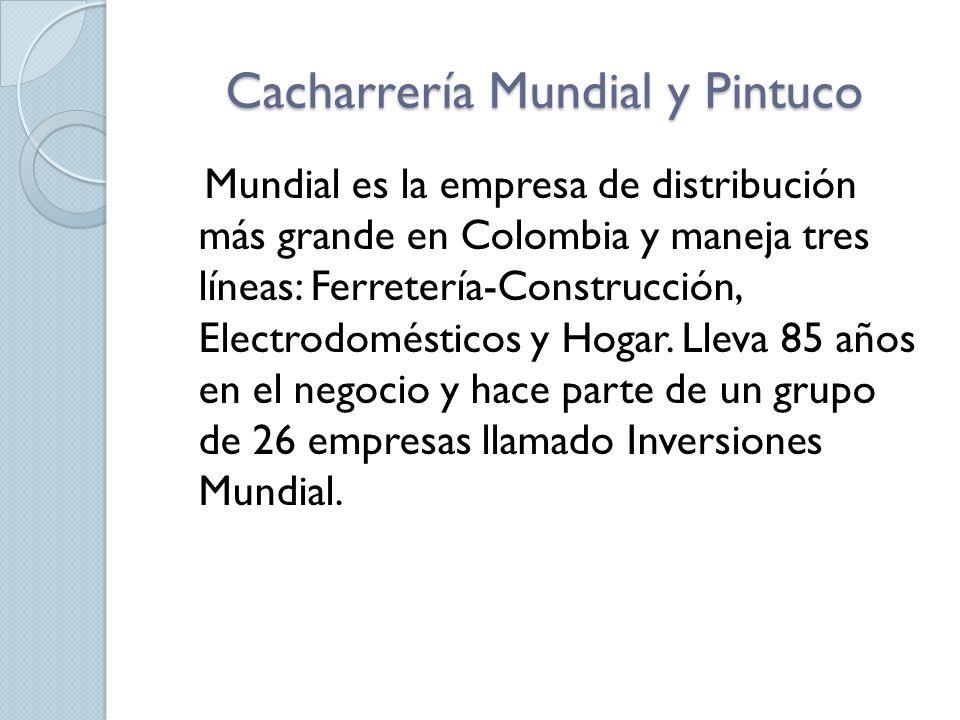 Cacharrería Mundial y Pintuco Mundial es la empresa de distribución más grande en Colombia y maneja tres líneas: Ferretería-Construcción, Electrodomésticos y Hogar.