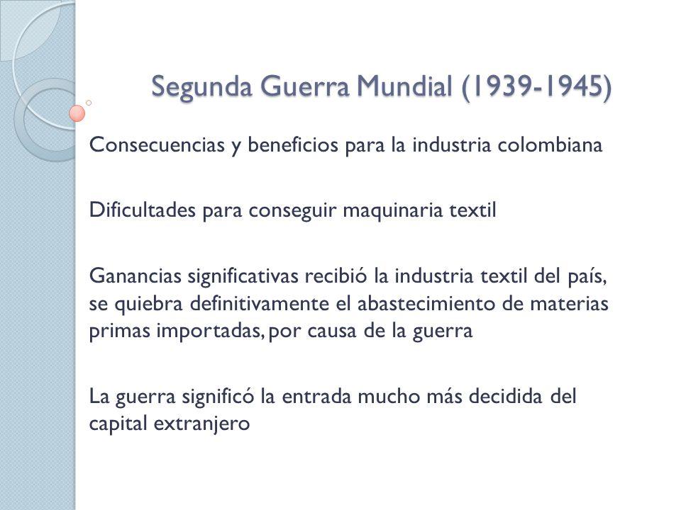 Segunda Guerra Mundial (1939-1945) Consecuencias y beneficios para la industria colombiana Dificultades para conseguir maquinaria textil Ganancias significativas recibió la industria textil del país, se quiebra definitivamente el abastecimiento de materias primas importadas, por causa de la guerra La guerra significó la entrada mucho más decidida del capital extranjero