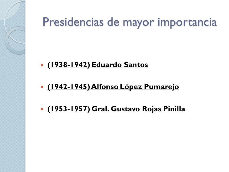 Presidencias de mayor importancia (1938-1942) Eduardo Santos (1942-1945) Alfonso López Pumarejo (1953-1957) Gral. Gustavo Rojas Pinilla