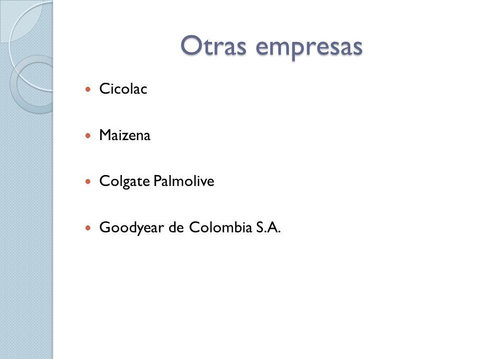 Otras empresas Cicolac Maizena Colgate Palmolive Goodyear de Colombia S.A.
