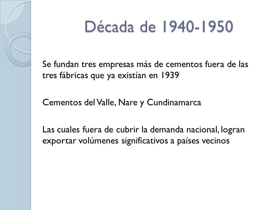 Década de 1940-1950 Se fundan tres empresas más de cementos fuera de las tres fábricas que ya existían en 1939 Cementos del Valle, Nare y Cundinamarca