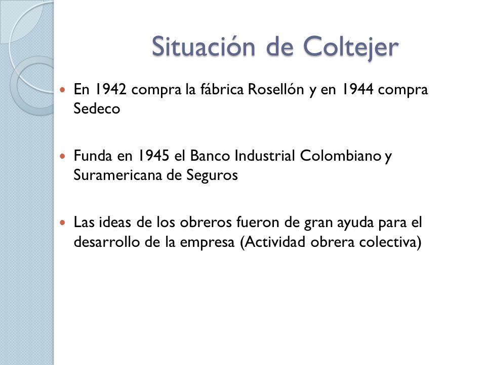 Situación de Coltejer En 1942 compra la fábrica Rosellón y en 1944 compra Sedeco Funda en 1945 el Banco Industrial Colombiano y Suramericana de Seguros Las ideas de los obreros fueron de gran ayuda para el desarrollo de la empresa (Actividad obrera colectiva)
