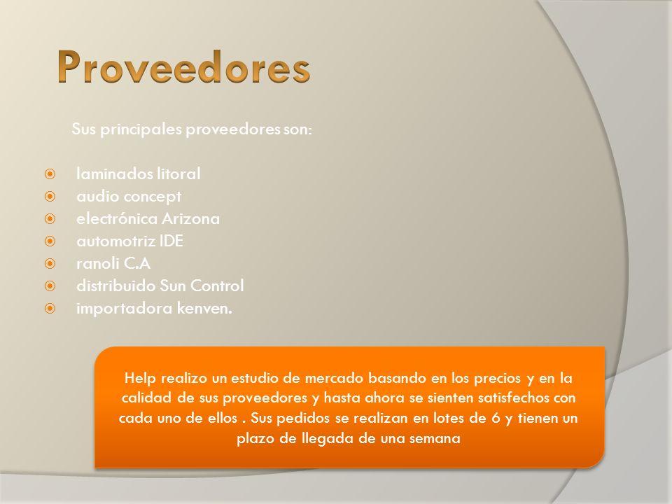 Sus principales proveedores son: laminados litoral audio concept electrónica Arizona automotriz IDE ranoli C.A distribuido Sun Control importadora kenven.