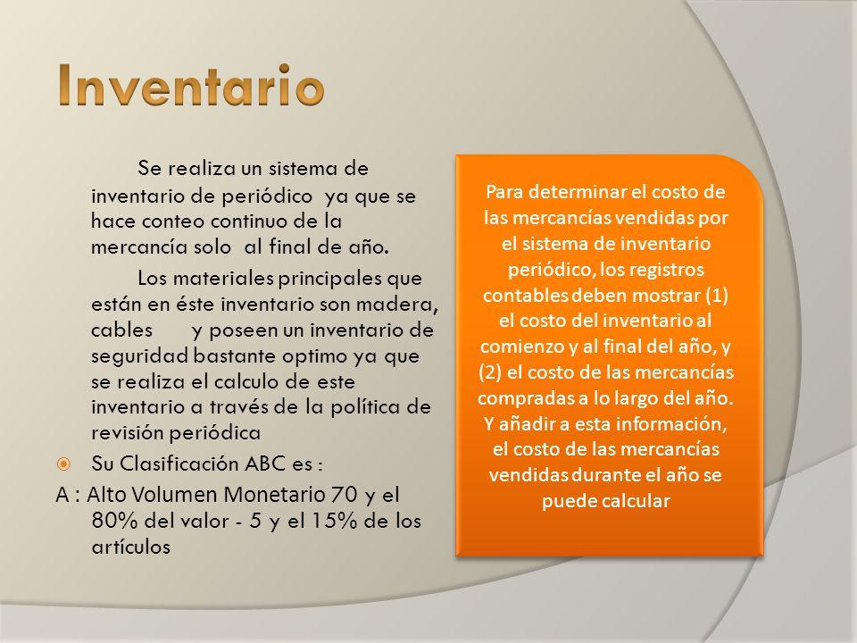 Se realiza un sistema de inventario de periódico ya que se hace conteo continuo de la mercancía solo al final de año.