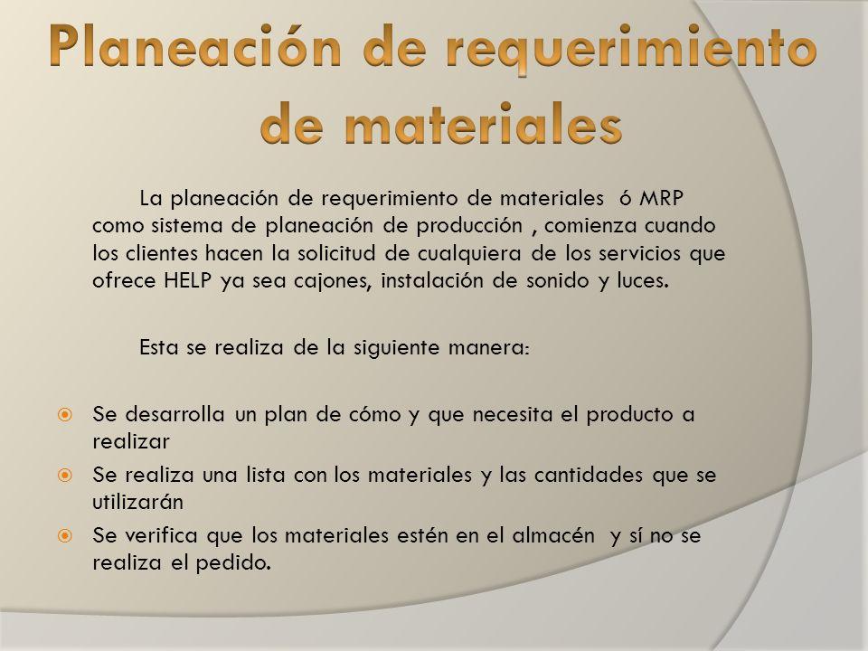 La planeación de requerimiento de materiales ó MRP como sistema de planeación de producción, comienza cuando los clientes hacen la solicitud de cualquiera de los servicios que ofrece HELP ya sea cajones, instalación de sonido y luces.