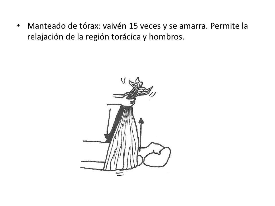 Manteado de tórax: vaivén 15 veces y se amarra. Permite la relajación de la región torácica y hombros.