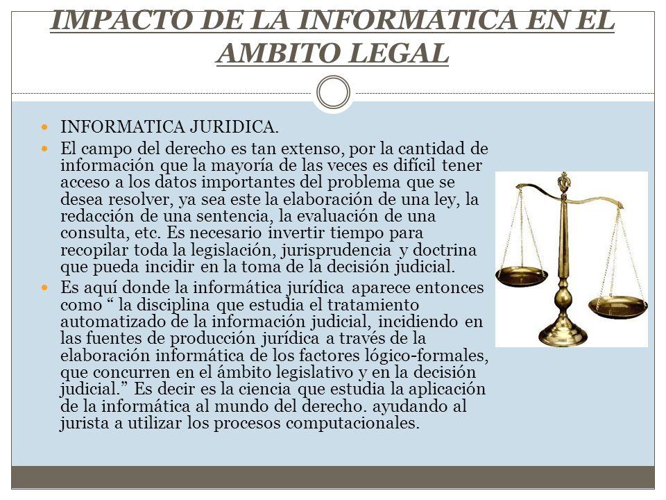 IMPACTO DE LA INFORMATICA EN EL AMBITO LEGAL INFORMATICA JURIDICA. El campo del derecho es tan extenso, por la cantidad de información que la mayoría