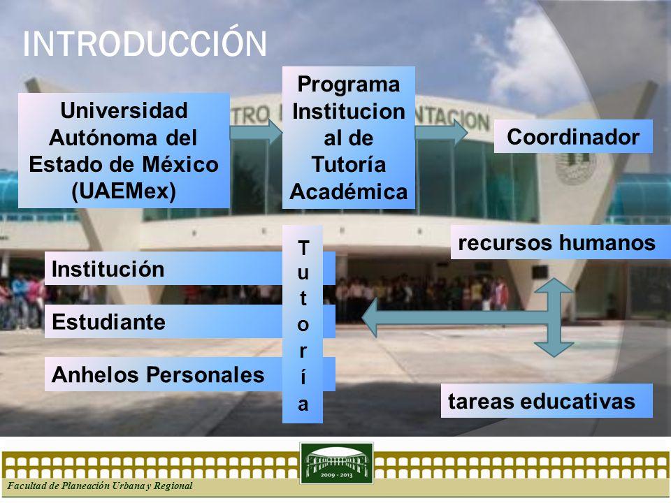 INTRODUCCIÓN Facultad de Planeación Urbana y Regional Universidad Autónoma del Estado de México (UAEMex) Programa Institucion al de Tutoría Académica
