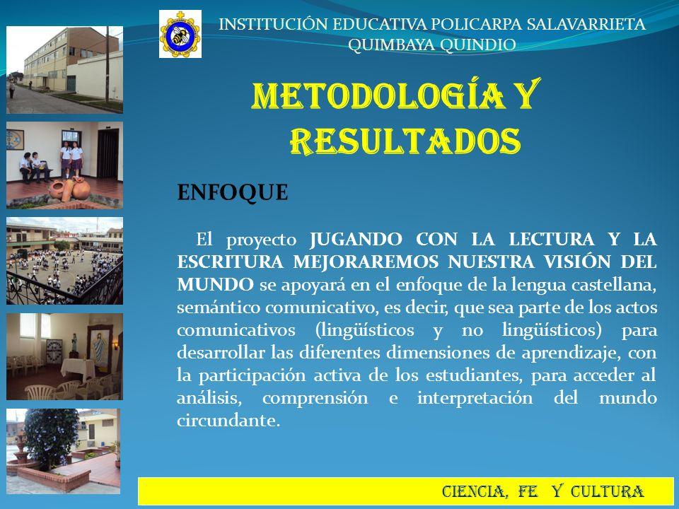 INSTITUCIÓN EDUCATIVA POLICARPA SALAVARRIETA QUIMBAYA QUINDIO CIENCIA, FE Y CULTURA METODOLOGÍA y RESULTADOS ENFOQUE El proyecto JUGANDO CON LA LECTUR