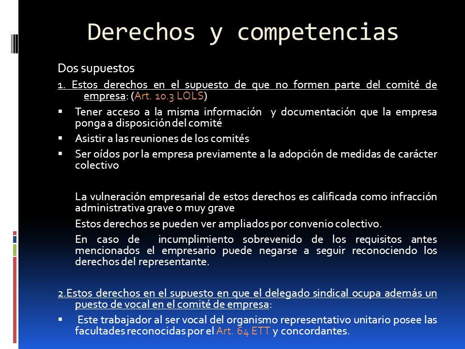Derechos y competencias Dos supuestos 1. Estos derechos en el supuesto de que no formen parte del comité de empresa: (Art. 10.3 LOLS) Tener acceso a l