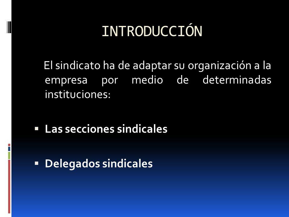 INTRODUCCIÓN El sindicato ha de adaptar su organización a la empresa por medio de determinadas instituciones: Las secciones sindicales Delegados sindi