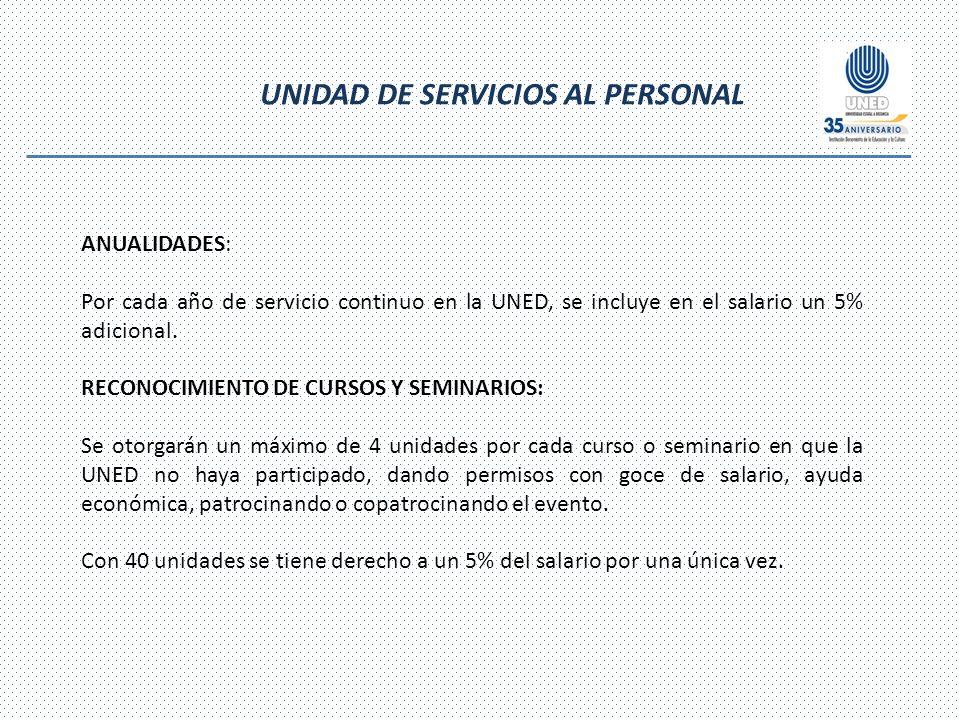 UNIDAD DE SERVICIOS AL PERSONAL ANUALIDADES: Por cada año de servicio continuo en la UNED, se incluye en el salario un 5% adicional.